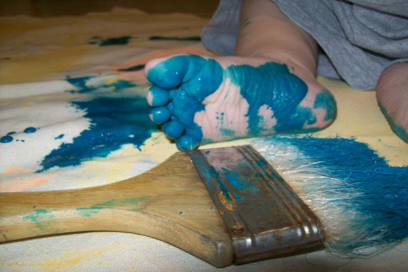 Child's foot with paint