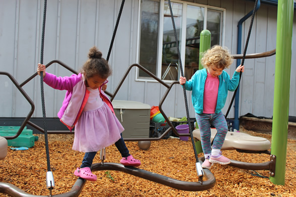 Toddlers playing on climbing structure
